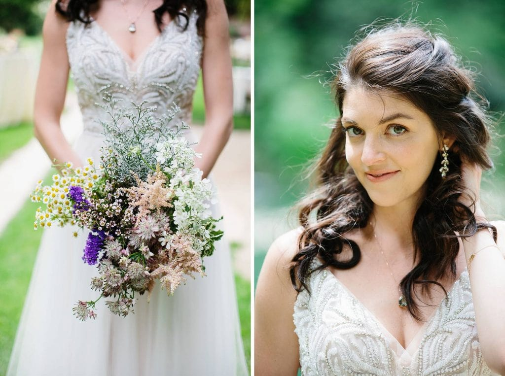 Nestldown Wedding Photography . Bride and wildflower bouquet