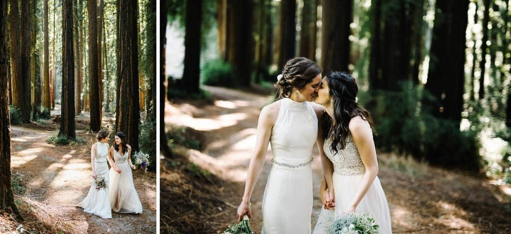 Redwood wedding portraits. Same sex marriage brides at Nestldown Wedding