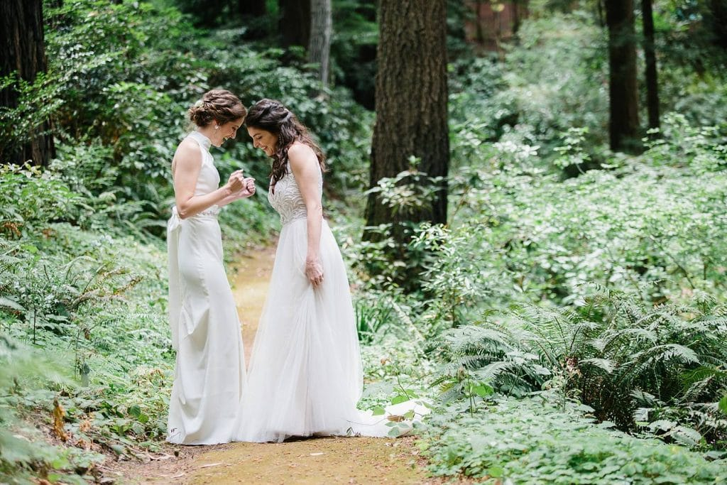 First look at a Nestldown Wedding, Redwood wedding photography for same sex marriage.